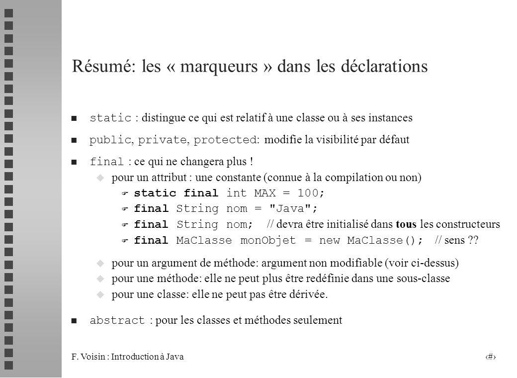 F. Voisin : Introduction à Java 32 Résumé: les « marqueurs » dans les déclarations static : distingue ce qui est relatif à une classe ou à ses instanc