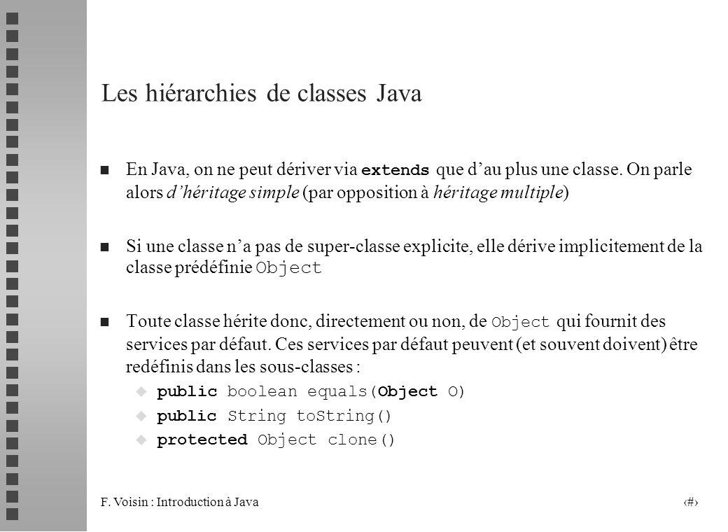 F. Voisin : Introduction à Java 4 Les hiérarchies de classes Java En Java, on ne peut dériver via extends que dau plus une classe. On parle alors dhér