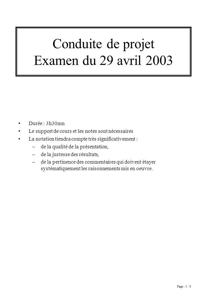 Page : 1 / 8 Conduite de projet Examen du 29 avril 2003 Durée : 3h30mn Le support de cours et les notes sont nécessaires La notation tiendra compte tr