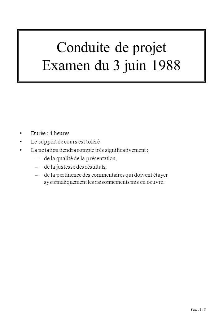 Page : 1 / 8 Conduite de projet Examen du 3 juin 1988 Durée : 4 heures Le support de cours est toléré La notation tiendra compte très significativemen