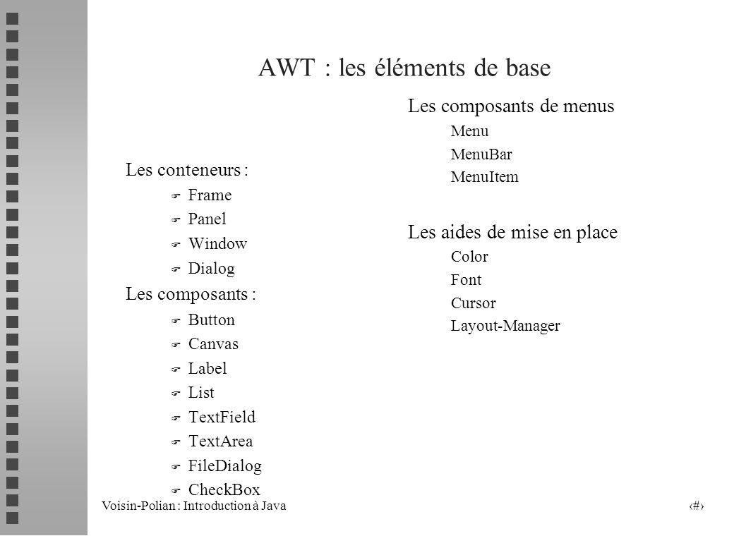 Voisin-Polian : Introduction à Java 4 AWT : les éléments de base Les conteneurs : F Frame F Panel F Window F Dialog Les composants : F Button F Canvas F Label F List F TextField F TextArea F FileDialog F CheckBox Les composants de menus Menu MenuBar MenuItem Les aides de mise en place Color Font Cursor Layout-Manager
