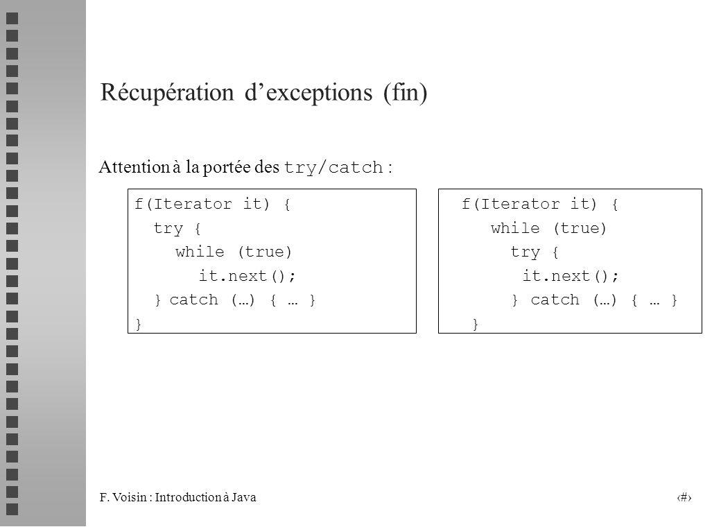 F. Voisin : Introduction à Java 14 Récupération dexceptions (fin) Attention à la portée des try/catch : f(Iterator it) { try { while (true) while (tru