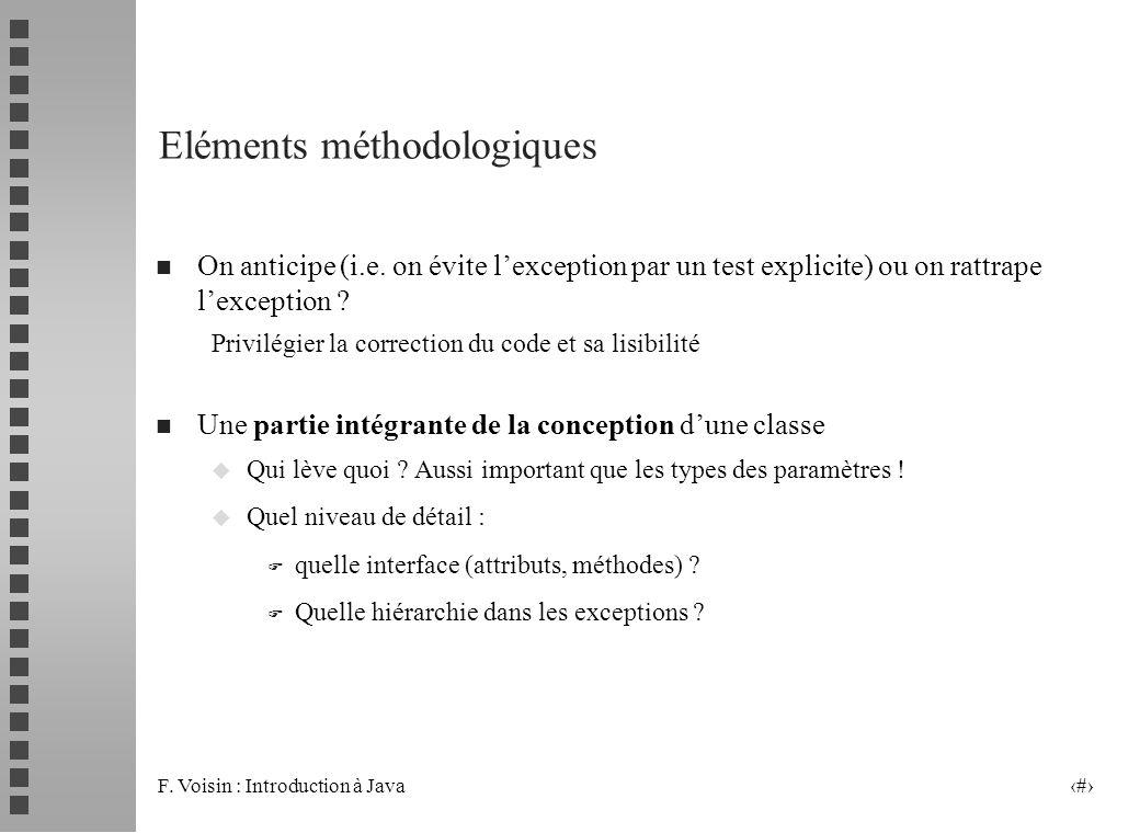 F. Voisin : Introduction à Java 20 Eléments méthodologiques n On anticipe (i.e. on évite lexception par un test explicite) ou on rattrape lexception ?