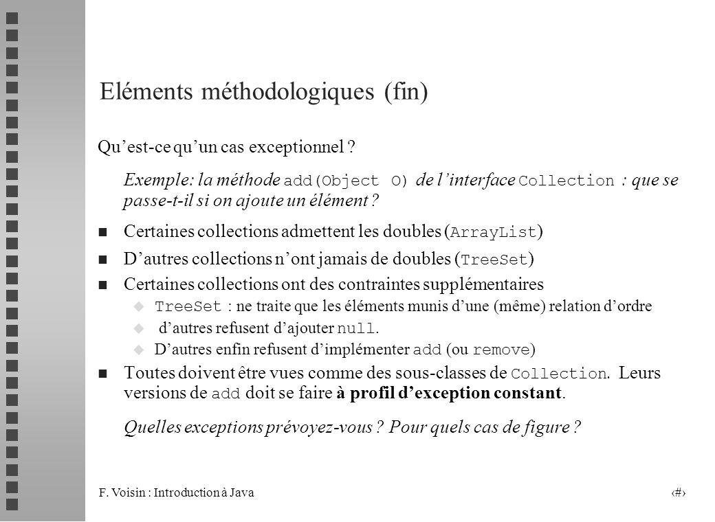 F. Voisin : Introduction à Java 23 Eléments méthodologiques (fin) Quest-ce quun cas exceptionnel ? Exemple: la méthode add(Object O) de linterface Col