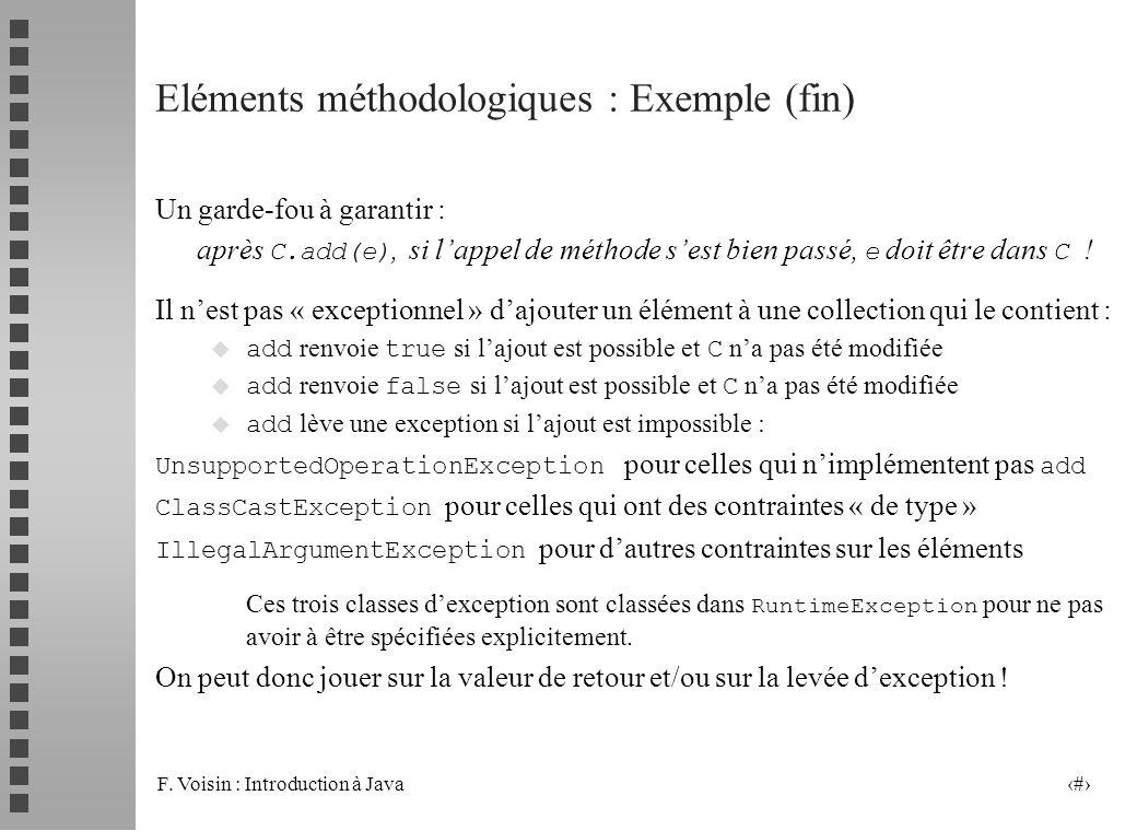 F. Voisin : Introduction à Java 24 Eléments méthodologiques : Exemple (fin) Un garde-fou à garantir : après C.add(e), si lappel de méthode sest bien p