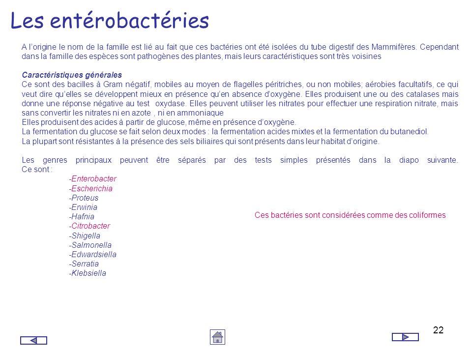 22 Les entérobactéries A lorigine le nom de la famille est lié au fait que ces bactéries ont été isolées du tube digestif des Mammifères. Cependant da