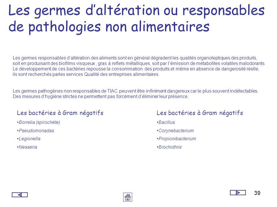 39 Les germes daltération ou responsables de pathologies non alimentaires Les germes responsables daltération des aliments sont en général dégradent l