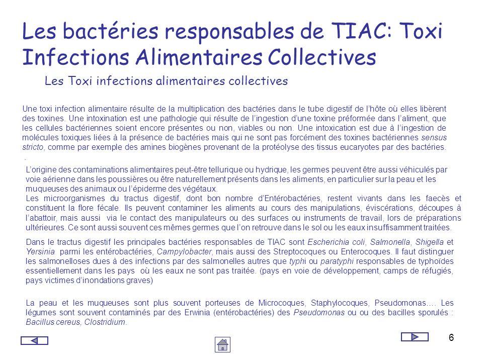 6 Les bactéries responsables de TIAC: Toxi Infections Alimentaires Collectives Une toxi infection alimentaire résulte de la multiplication des bactéri