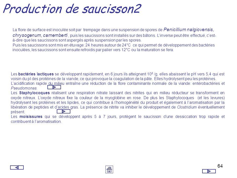 64 Production de saucisson2 La flore de surface est inoculée soit par trempage dans une suspension de spores de Penicillium nalgiovensis, chrysogenum,
