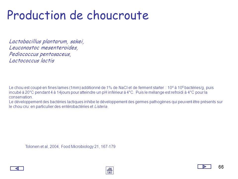 66 Production de choucroute Lactobacillus plantarum, sakei, Leuconostoc mesenteroides, Pediococcus pentosaceus, Lactococcus lactis Le chou est coupé e