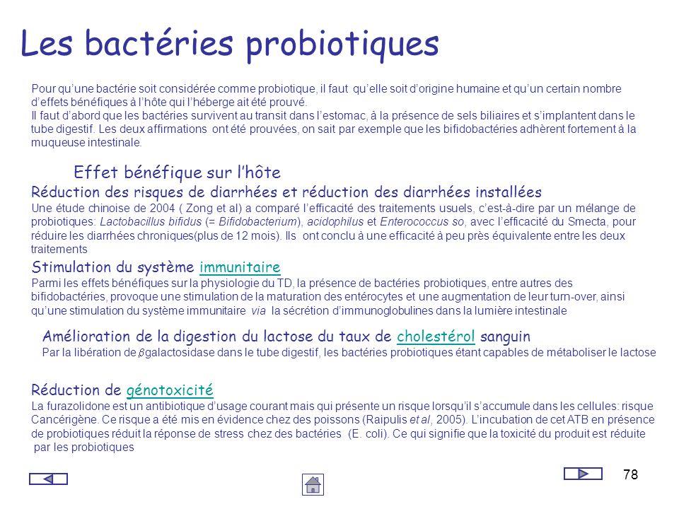 78 Les bactéries probiotiques Pour quune bactérie soit considérée comme probiotique, il faut quelle soit dorigine humaine et quun certain nombre deffe