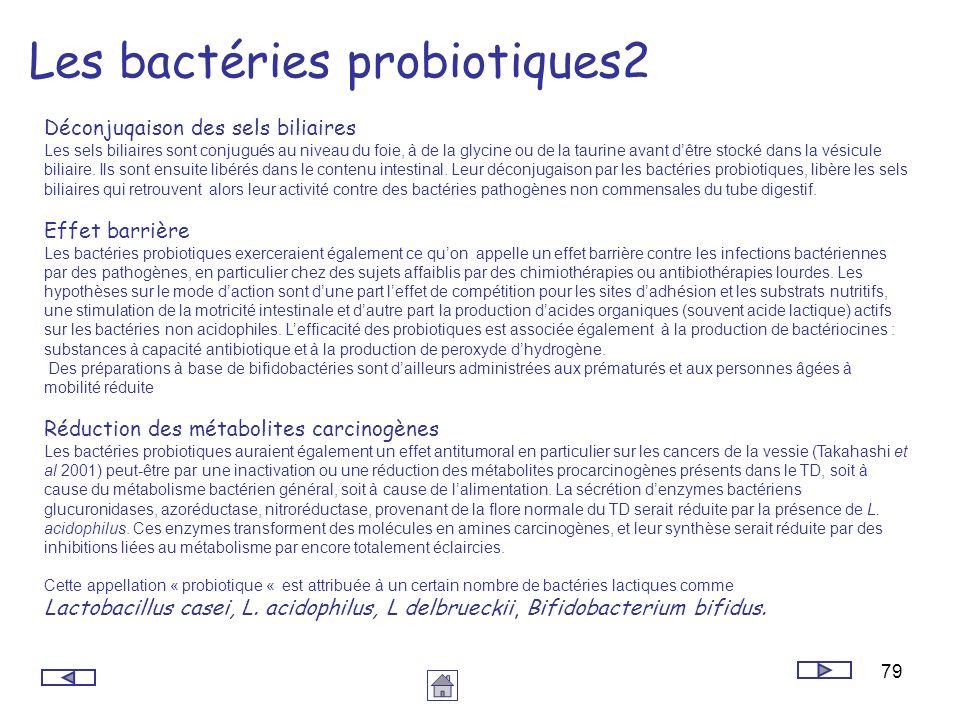 79 Les bactéries probiotiques2 Déconjuqaison des sels biliaires Les sels biliaires sont conjugués au niveau du foie, à de la glycine ou de la taurine
