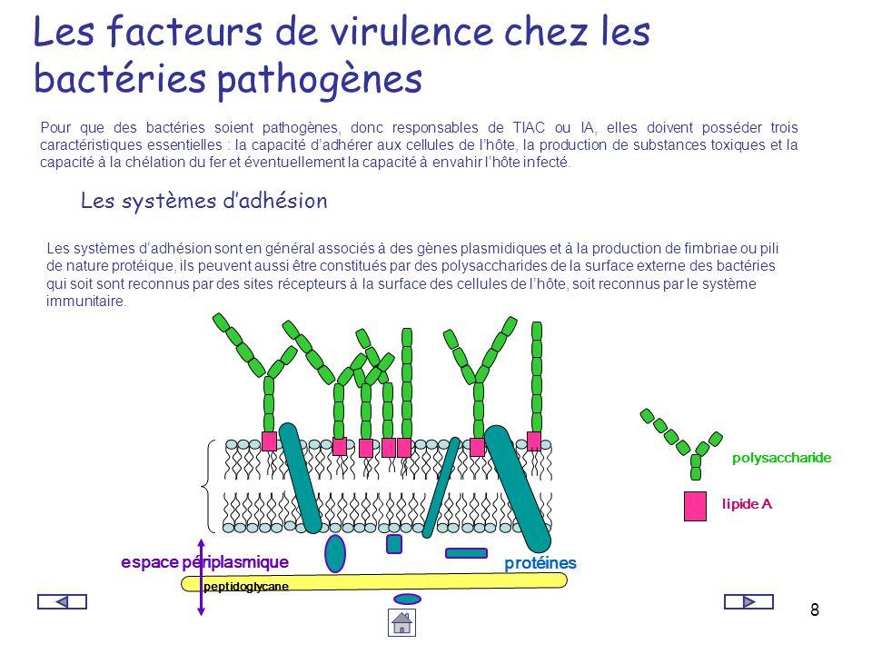 8 Les facteurs de virulence chez les bactéries pathogènes Pour que des bactéries soient pathogènes, donc responsables de TIAC ou IA, elles doivent pos