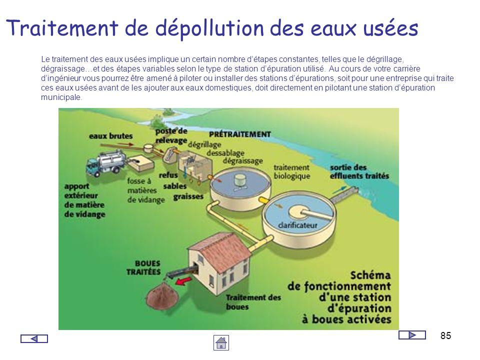 85 Traitement de dépollution des eaux usées Le traitement des eaux usées implique un certain nombre détapes constantes, telles que le dégrillage, dégr