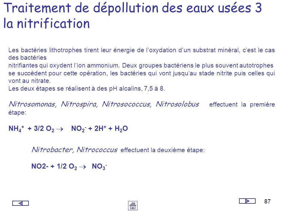 87 Traitement de dépollution des eaux usées 3 la nitrification Les bactéries lithotrophes tirent leur énergie de loxydation dun substrat minéral, cest