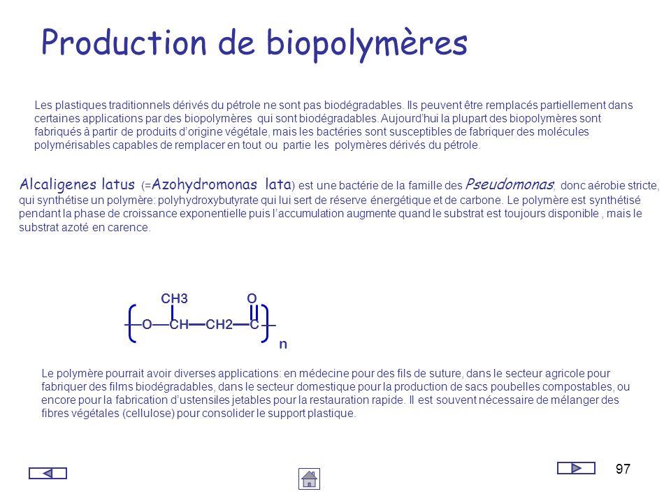 97 Production de biopolymères Les plastiques traditionnels dérivés du pétrole ne sont pas biodégradables. Ils peuvent être remplacés partiellement dan