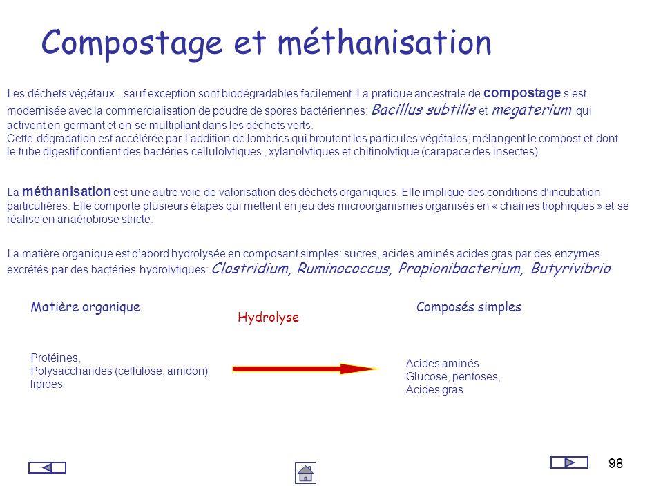 98 Compostage et méthanisation Les déchets végétaux, sauf exception sont biodégradables facilement. La pratique ancestrale de compostage sest modernis