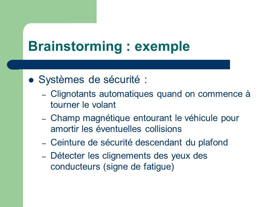 Brainstorming : exemple Systèmes de sécurité : – Clignotants automatiques quand on commence à tourner le volant – Champ magnétique entourant le véhicu