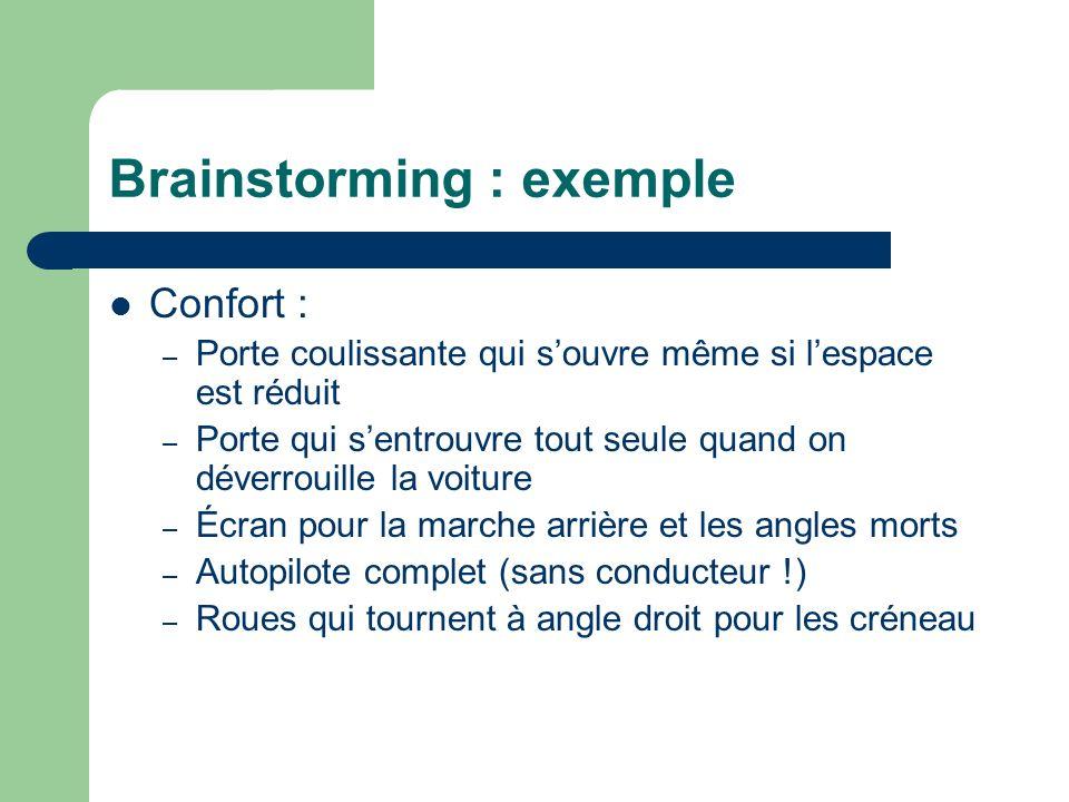 Brainstorming : exemple Confort : – Porte coulissante qui souvre même si lespace est réduit – Porte qui sentrouvre tout seule quand on déverrouille la