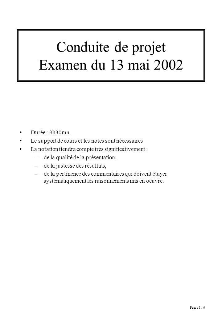 Page : 1 / 6 Conduite de projet Examen du 13 mai 2002 Durée : 3h30mn Le support de cours et les notes sont nécessaires La notation tiendra compte très