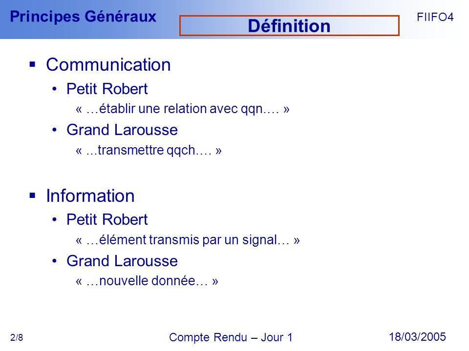 FIIFO4 18/03/2005 Compte Rendu – Jour 1 Principes Généraux 2/8 Définition Communication Petit Robert « …établir une relation avec qqn.… » Grand Larous
