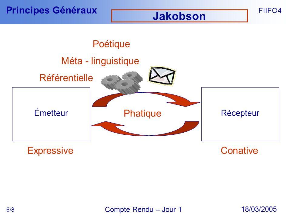 FIIFO4 18/03/2005 Compte Rendu – Jour 1 Principes Généraux 6/8 Jakobson ÉmetteurRécepteur Phatique ExpressiveConative Référentielle Méta - linguistiqu