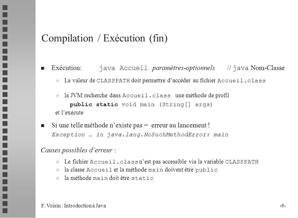 F. Voisin : Introduction à Java 11 Compilation / Exécution (fin) Exécution: java Accueil paramètres-optionnels // java Nom-Classe La valeur de CLASSPA