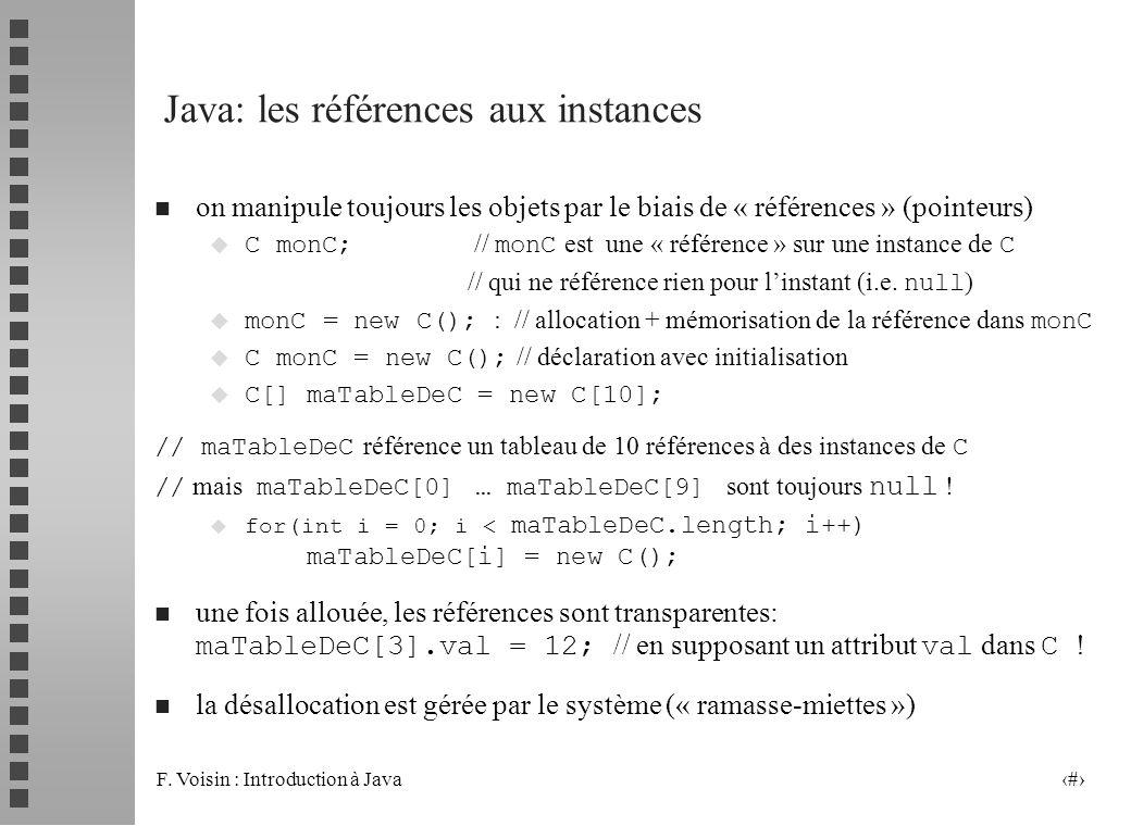 F. Voisin : Introduction à Java 15 Java: les références aux instances n on manipule toujours les objets par le biais de « références » (pointeurs) C m