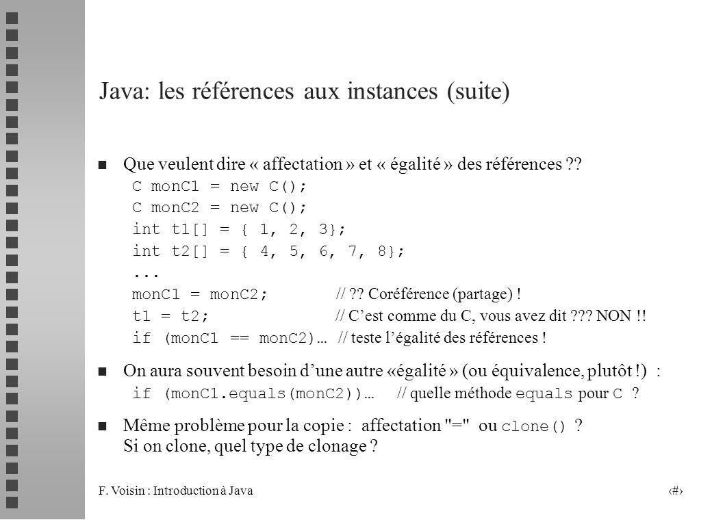 F. Voisin : Introduction à Java 17 Java: les références aux instances (suite) n Que veulent dire « affectation » et « égalité » des références ?? C mo