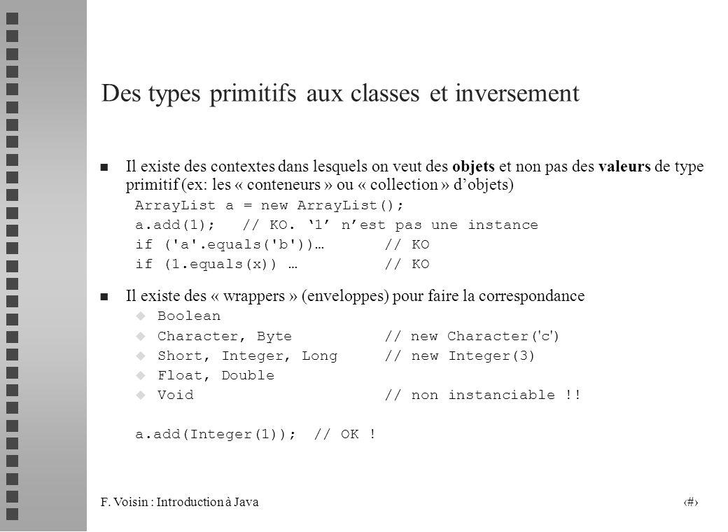 F. Voisin : Introduction à Java 18 Des types primitifs aux classes et inversement n Il existe des contextes dans lesquels on veut des objets et non pa