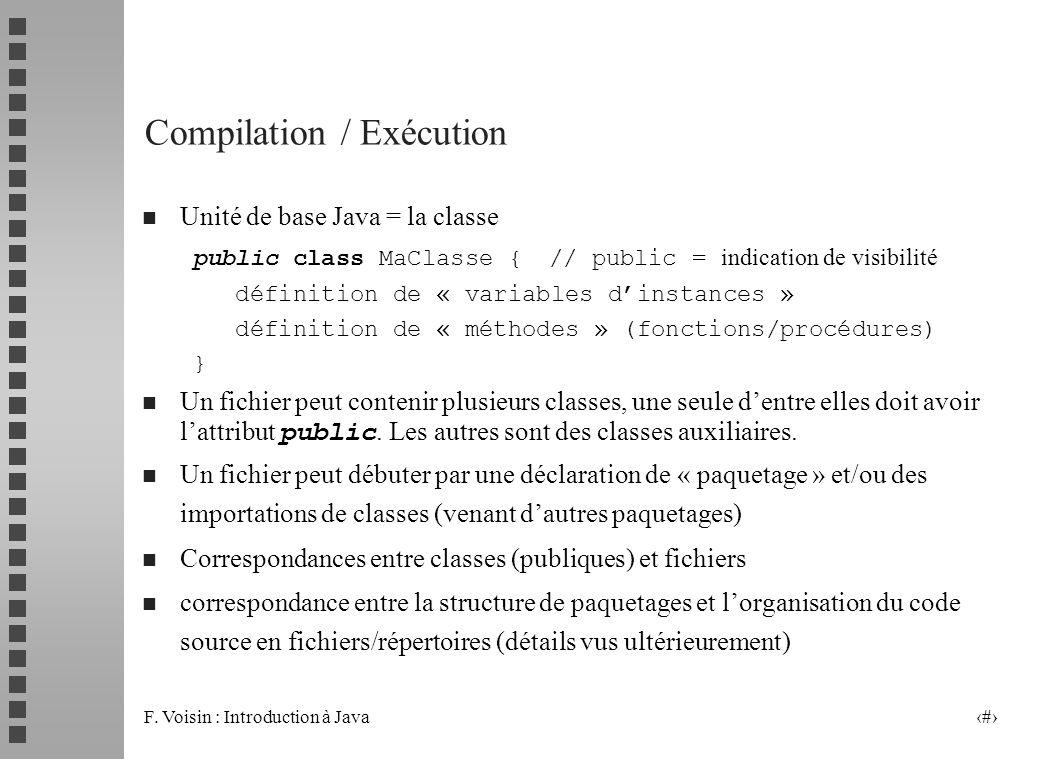 F. Voisin : Introduction à Java 9 Compilation / Exécution n Unité de base Java = la classe public class MaClasse {// public = indication de visibilité