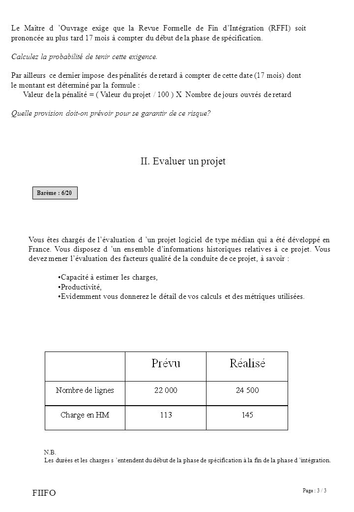 Page : 3 / 3 FIIFO Le Maître d Ouvrage exige que la Revue Formelle de Fin dIntégration (RFFI) soit prononcée au plus tard 17 mois à compter du début de la phase de spécification.