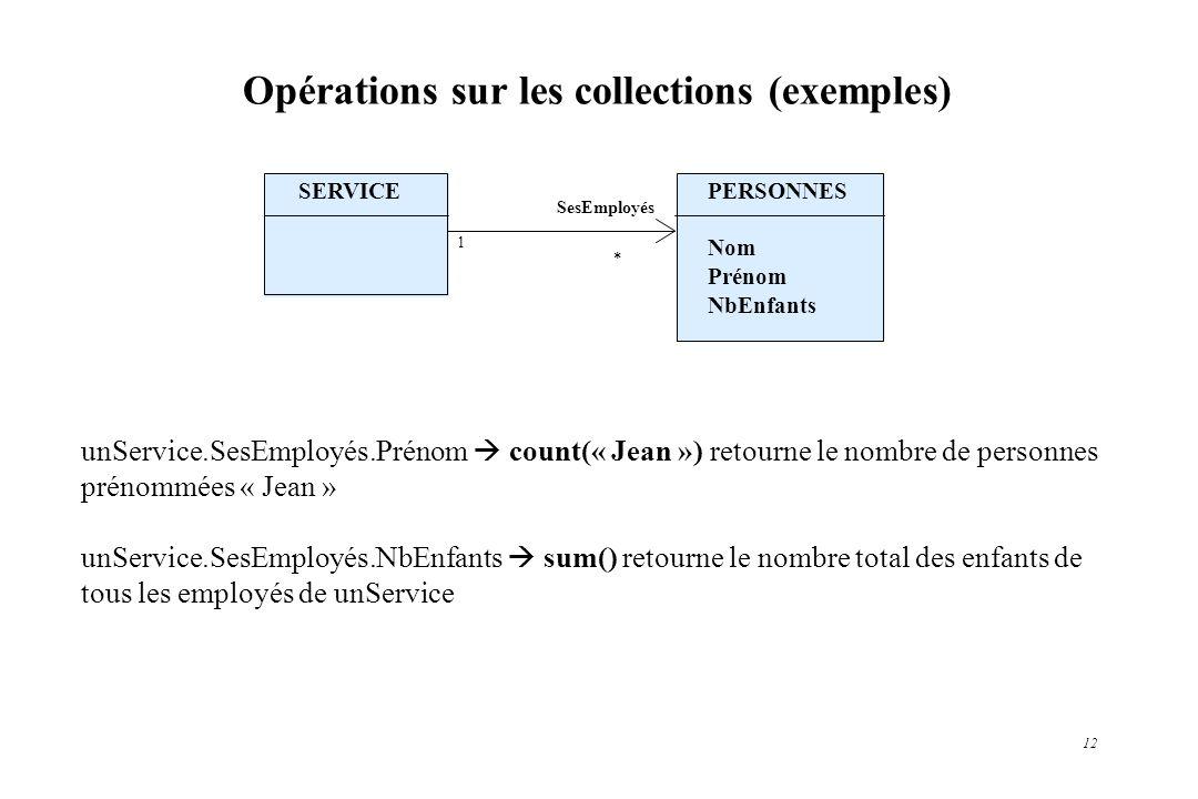 12 Opérations sur les collections (exemples) unService.SesEmployés.Prénom count(« Jean ») retourne le nombre de personnes prénommées « Jean » unServic