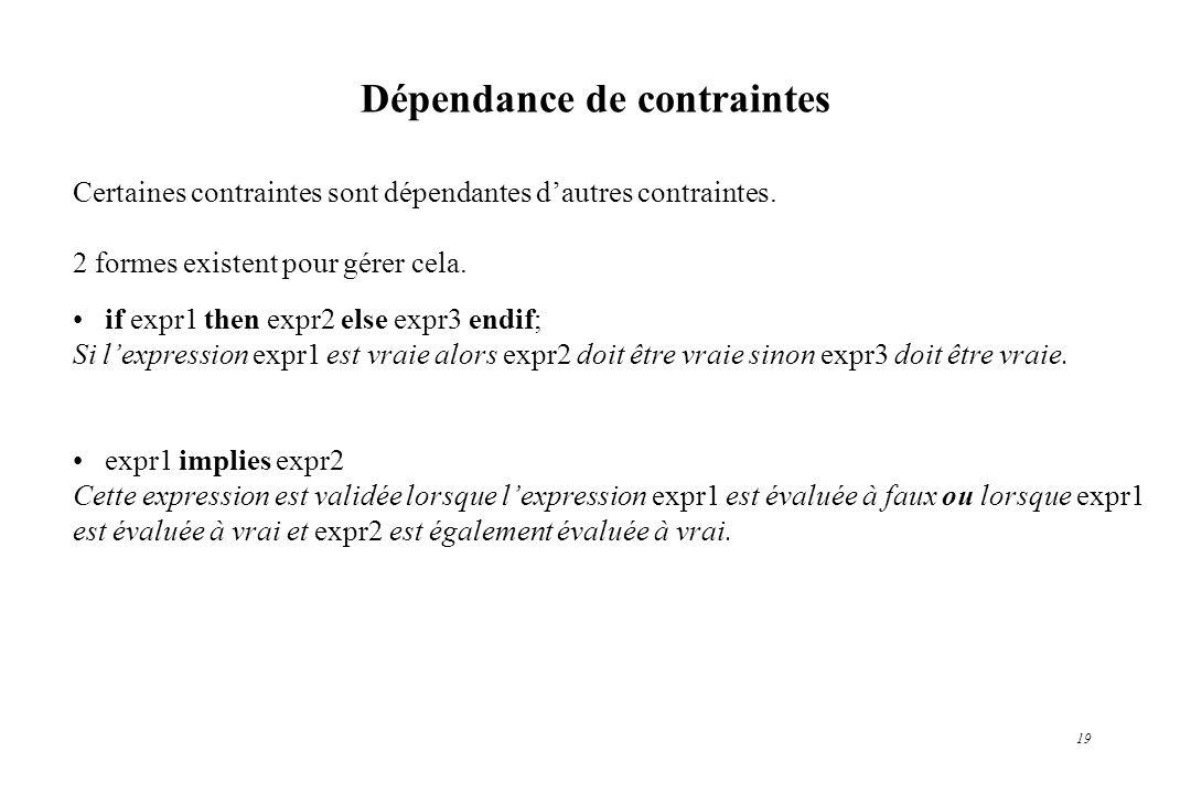 19 Dépendance de contraintes Certaines contraintes sont dépendantes dautres contraintes. 2 formes existent pour gérer cela. if expr1 then expr2 else e