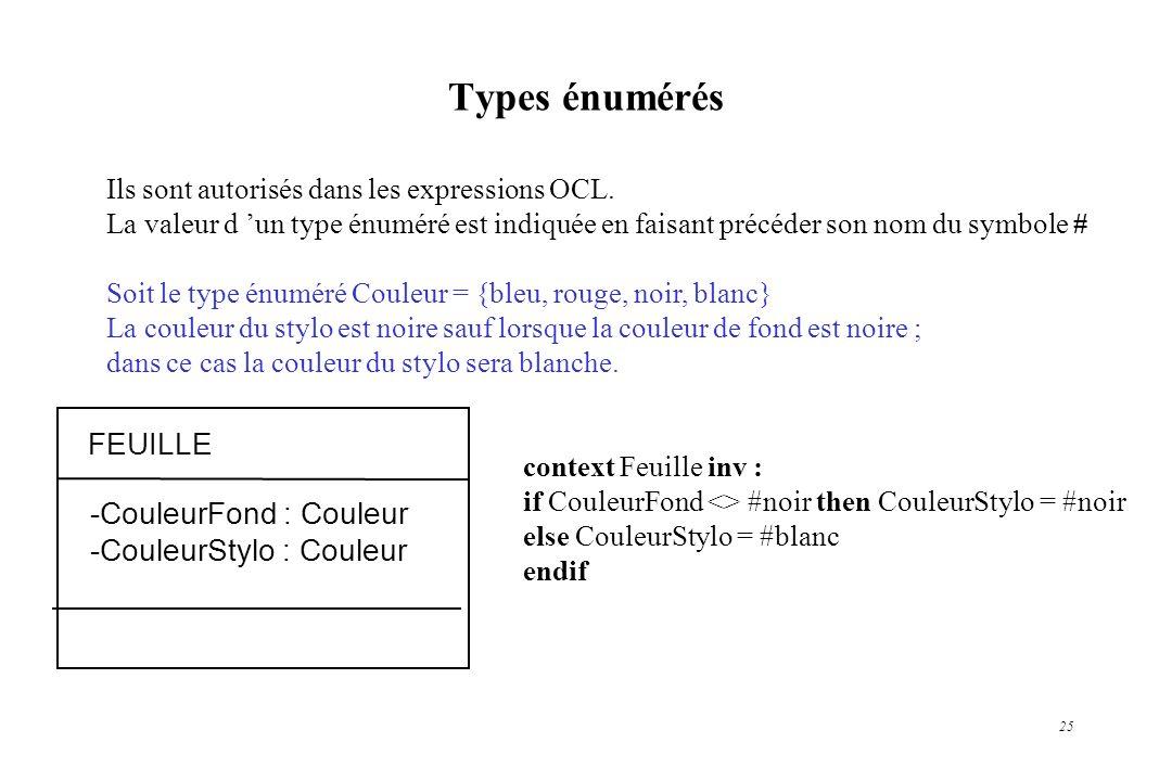 25 Types énumérés Ils sont autorisés dans les expressions OCL. La valeur d un type énuméré est indiquée en faisant précéder son nom du symbole # Soit