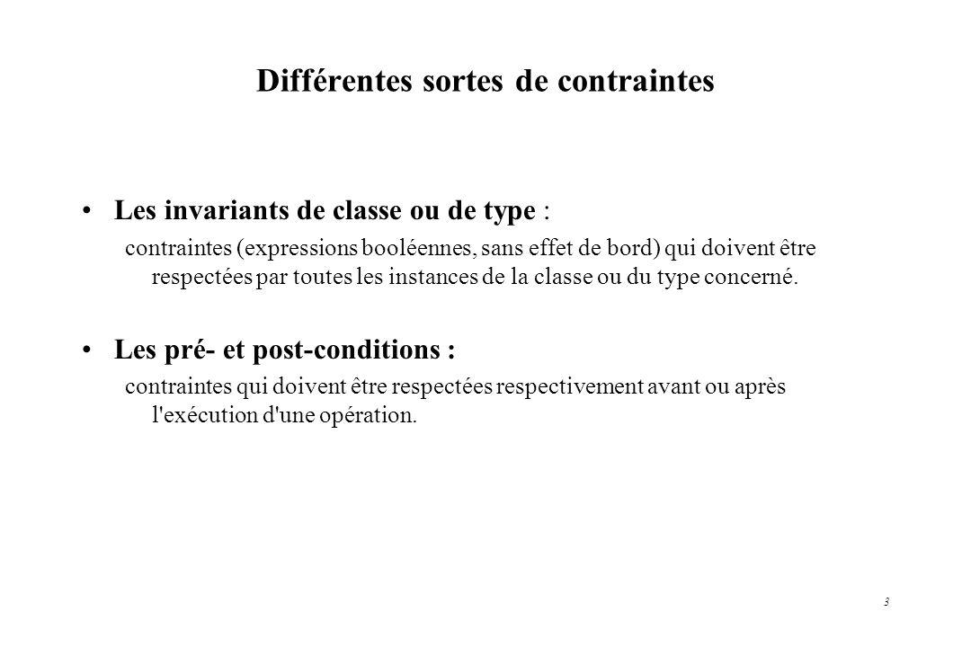 3 Différentes sortes de contraintes Les invariants de classe ou de type : contraintes (expressions booléennes, sans effet de bord) qui doivent être re