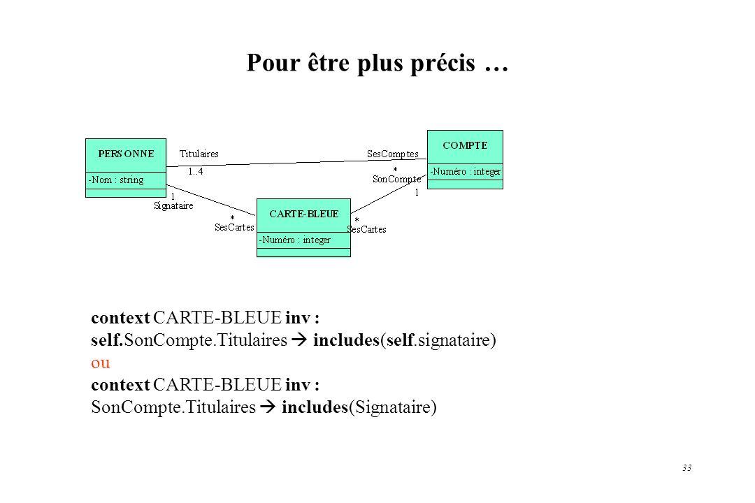 33 Pour être plus précis … context CARTE-BLEUE inv : self.SonCompte.Titulaires includes(self.signataire) ou context CARTE-BLEUE inv : SonCompte.Titula