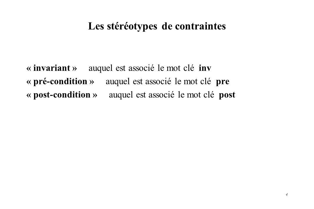 4 Les stéréotypes de contraintes « invariant » auquel est associé le mot clé inv « pré-condition » auquel est associé le mot clé pre « post-condition