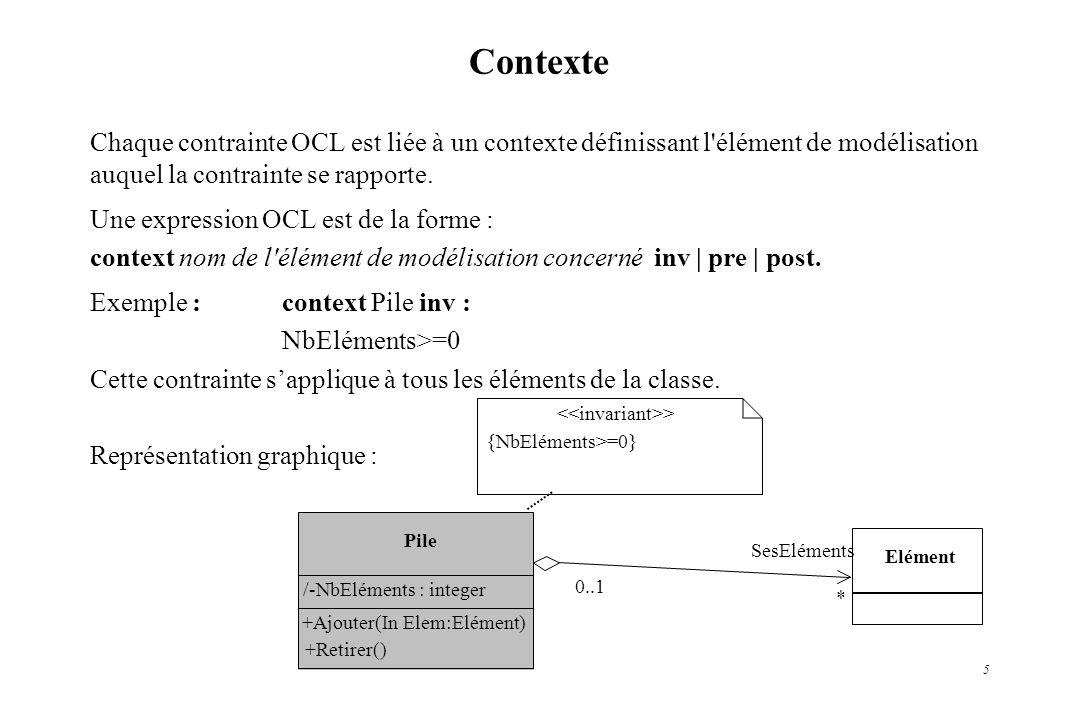 5 Contexte Chaque contrainte OCL est liée à un contexte définissant l'élément de modélisation auquel la contrainte se rapporte. Une expression OCL est