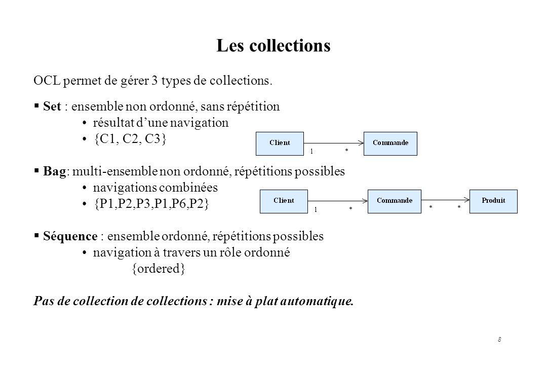 8 Les collections OCL permet de gérer 3 types de collections. Set : ensemble non ordonné, sans répétition résultat dune navigation {C1, C2, C3} Bag: m