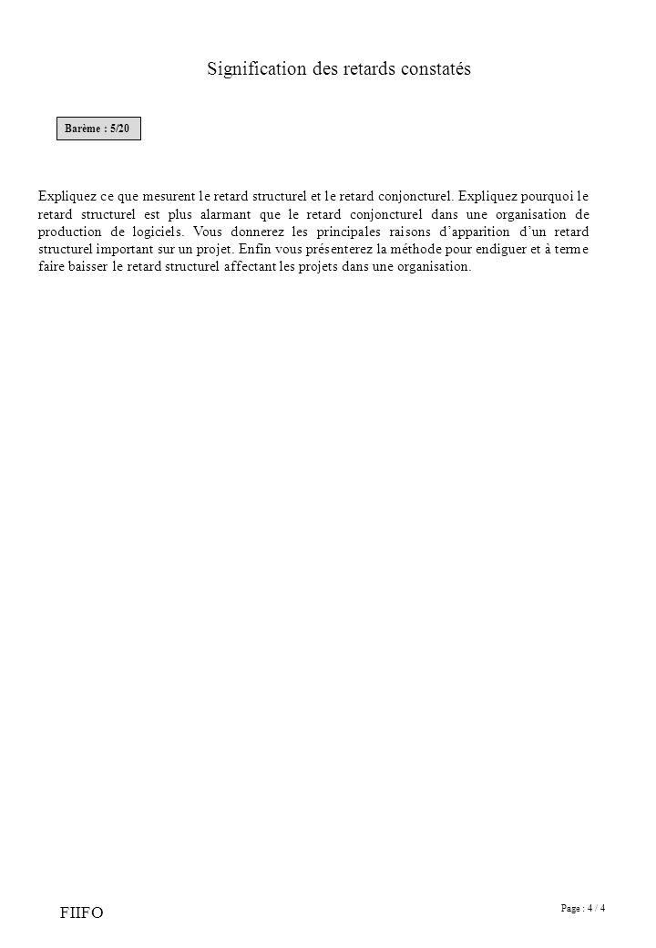 Page : 4 / 4 FIIFO Signification des retards constatés Barème : 5/20 Expliquez ce que mesurent le retard structurel et le retard conjoncturel.