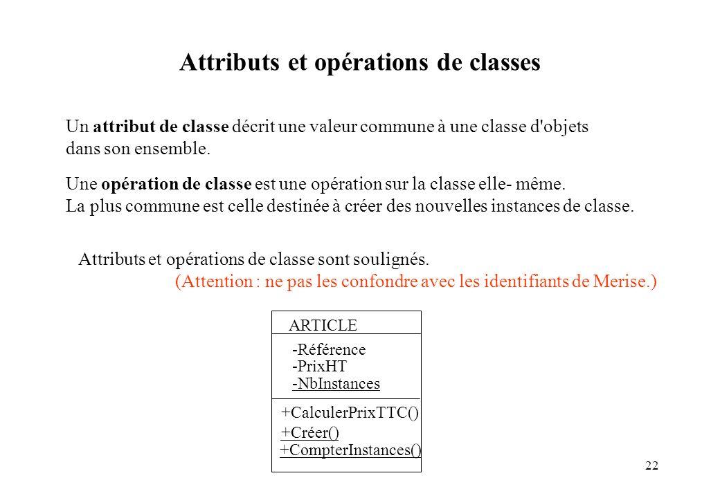 22 Un attribut de classe décrit une valeur commune à une classe d'objets dans son ensemble. Une opération de classe est une opération sur la classe el