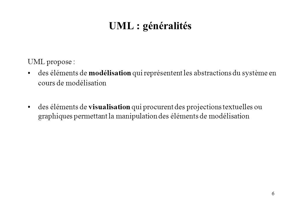 6 UML : généralités UML propose : des éléments de modélisation qui représentent les abstractions du système en cours de modélisation des éléments de v