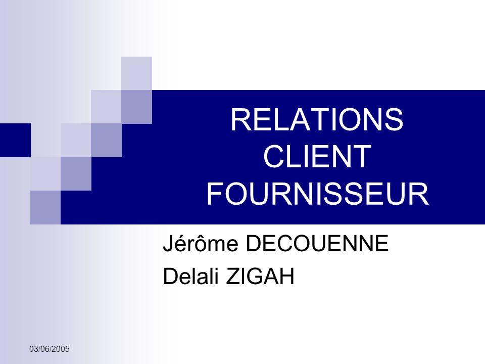 03/06/2005 RELATIONS CLIENT FOURNISSEUR Jérôme DECOUENNE Delali ZIGAH