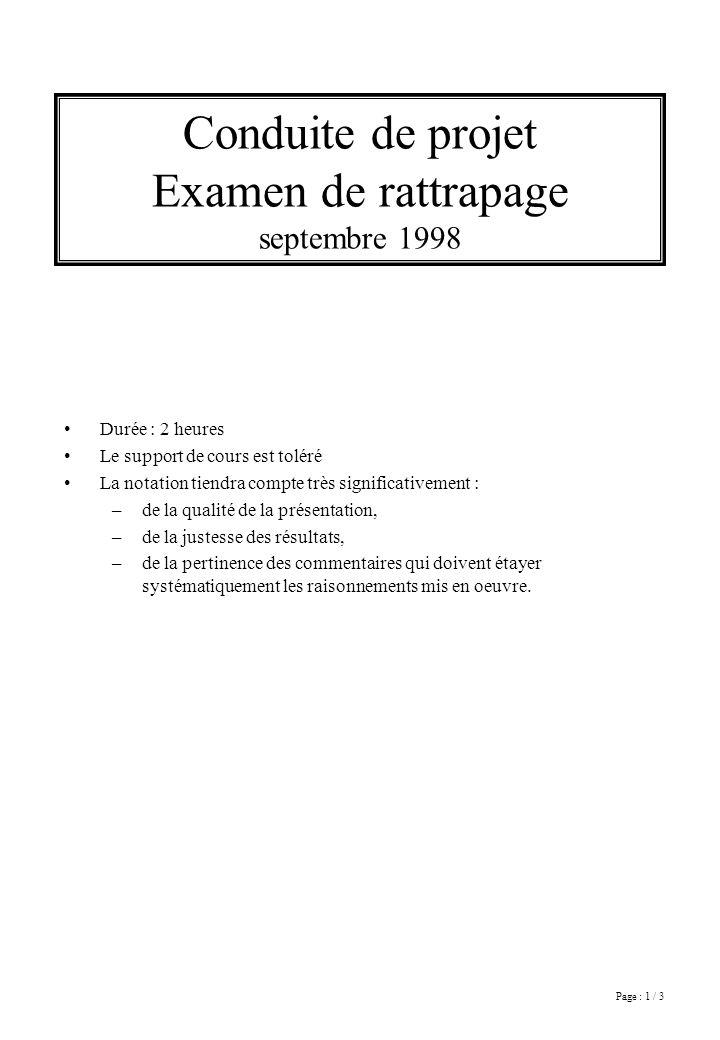 Page : 1 / 3 Conduite de projet Examen de rattrapage septembre 1998 Durée : 2 heures Le support de cours est toléré La notation tiendra compte très si