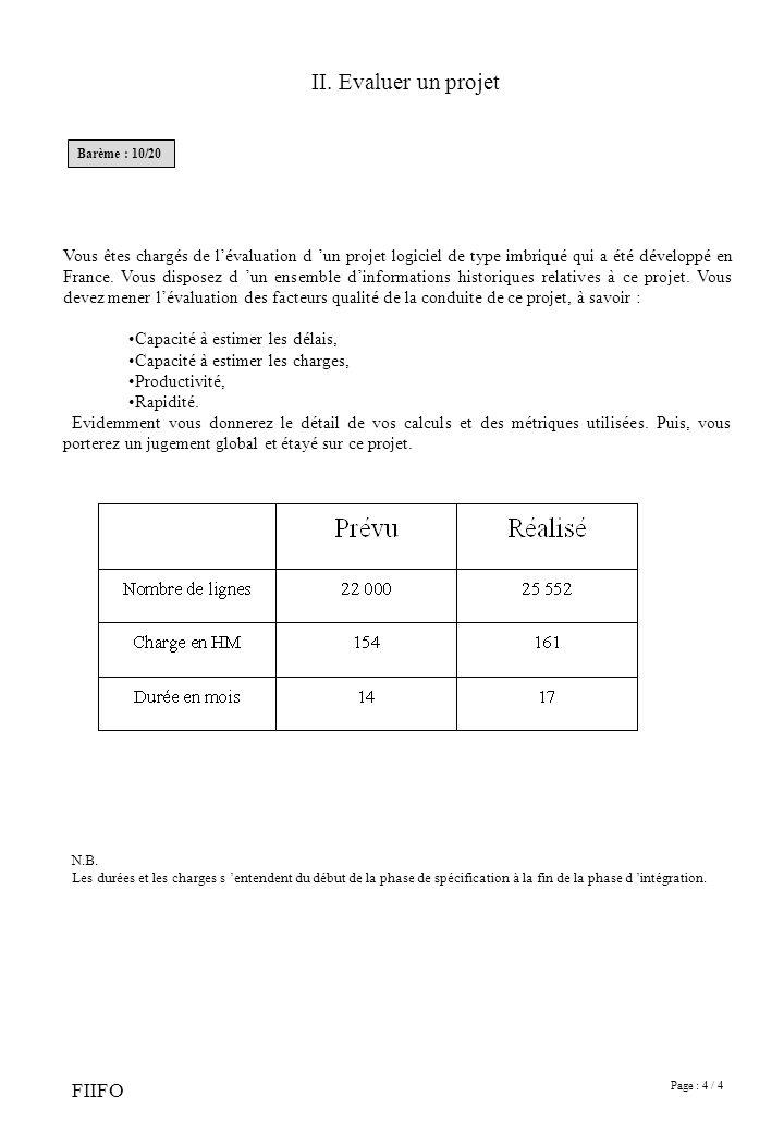 Page : 4 / 4 FIIFO Vous êtes chargés de lévaluation d un projet logiciel de type imbriqué qui a été développé en France. Vous disposez d un ensemble d