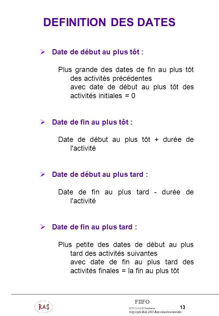 D/T/072.2/02 III. Planification 13 Copyright RAS 2003 Reproduction interdite FIIFO DEFINITION DES DATES Date de début au plus tôt : Plus grande des da
