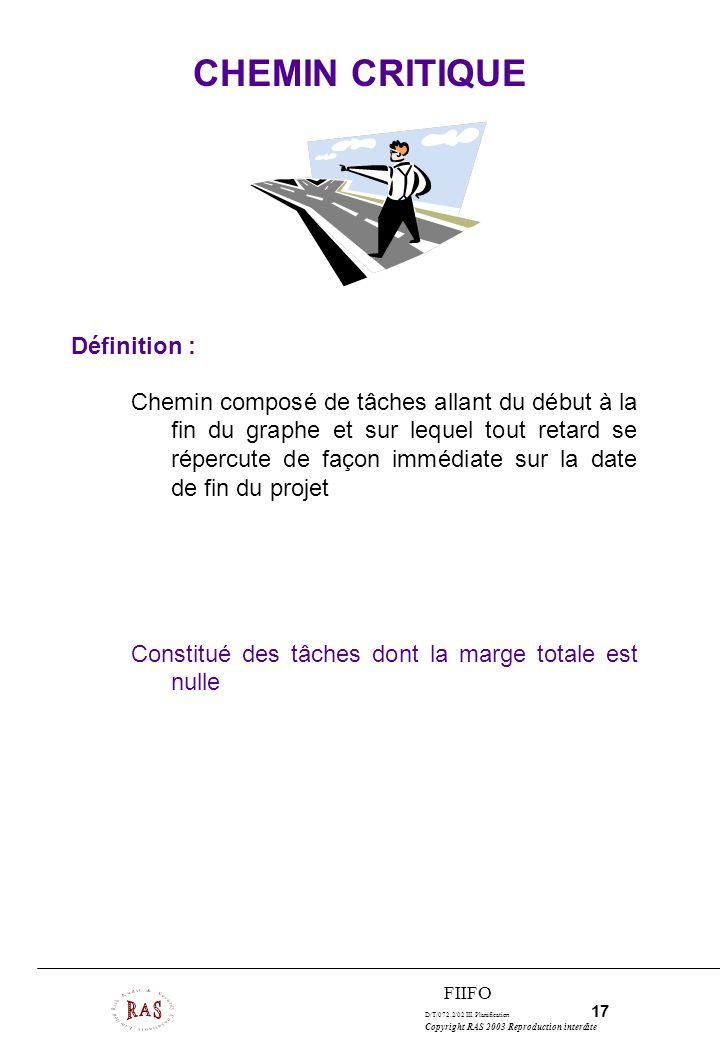 D/T/072.2/02 III. Planification 17 Copyright RAS 2003 Reproduction interdite FIIFO Définition : Chemin composé de tâches allant du début à la fin du g