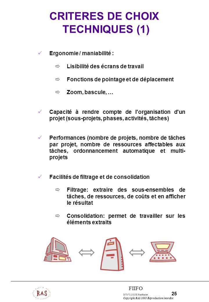 D/T/072.2/02 III. Planification 25 Copyright RAS 2003 Reproduction interdite FIIFO CRITERES DE CHOIX TECHNIQUES (1) Ergonomie / maniabilité : Lisibili