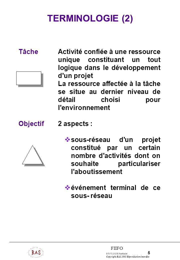 D/T/072.2/02 III. Planification 5 Copyright RAS 2003 Reproduction interdite FIIFO TâcheActivité confiée à une ressource unique constituant un tout log